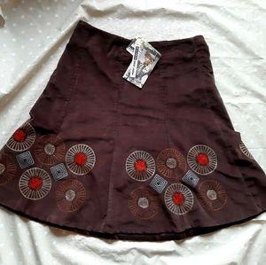 🎁 NWT Point zero corduroy Boho skirt embroidery